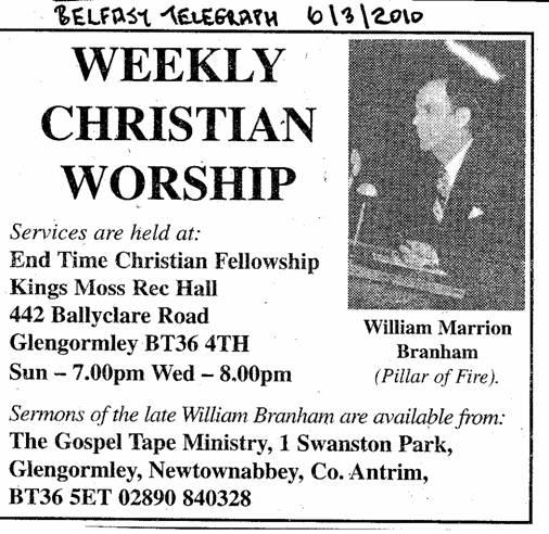 End Time Fellowship\' Glengormley and William Marrion Branham ...